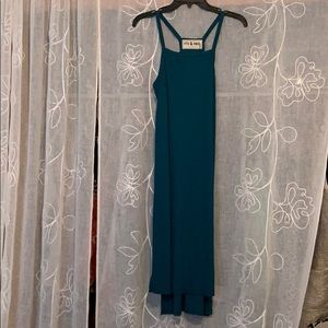 CUTE SQUARE NECK TEAL DRESS WITH DEEP SIDE SLITS